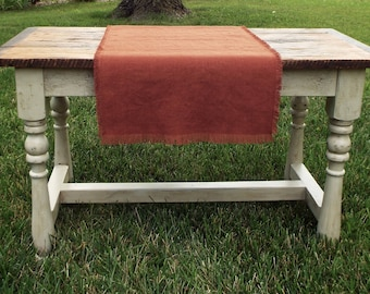Farmhouse Rust Linen Table Runner, Fringed Linen Table Runner