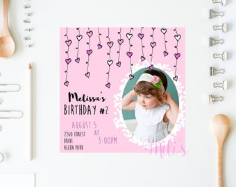 Birthday girl invitation - INSTANT DOWNLOAD heart card pink for birthday girls printable