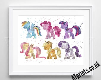 My Little Pony Art - Watercolor Poster - Print - Watercolour Print - Wall Art - Canvas - Gift Idea - Framed - Picture