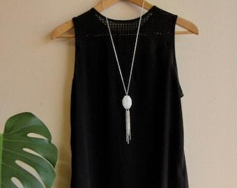 Long Tassel Necklace Silver Tone Layering Necklace Modern Boho Jewelry Chain Tassel