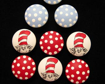 Set of 10 - Cat in the Hat Knobs & Polka Dot Knobs - Hand Painted Wooden Knobs