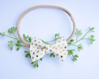 Gold Polka Dot, Leather bow, Leather Headband, Gold Bow, Baby bow, Toddler headband, Simplycutebykellie,