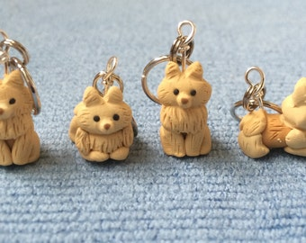 Pomeranian Dog Knitting Stitch Markers set of 4 Miniature Polymer Clay Sculpted Animal Knit, Crochet Accessories