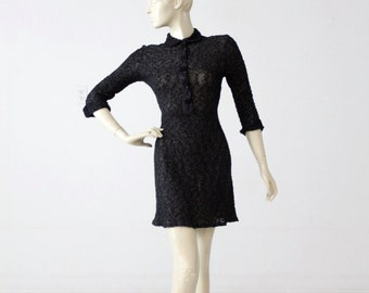 vintage 60s black knit mini dress