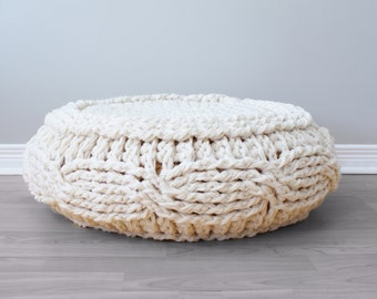 "DIY Crochet PATTERN - Crochet Cable Footstool Cover fits Ikea's Alseda Footstool 23-7/8"" diameter x 7-1/8"" high (Pouffe003)"