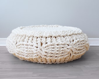 "DIY Crochet PATTERN - Crochet Cable Footstool Cover fits Ikea's Alseda Footstool 23-7/8"" diameter x 7-1/8"" high (Pouffe003)"