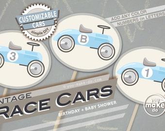 light blue race car party vintage boy baby shower decorations