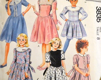 Vintage Sewing Pattern McCall's 3835 6258 Girls' Dress Size 8 UNCUT Complete