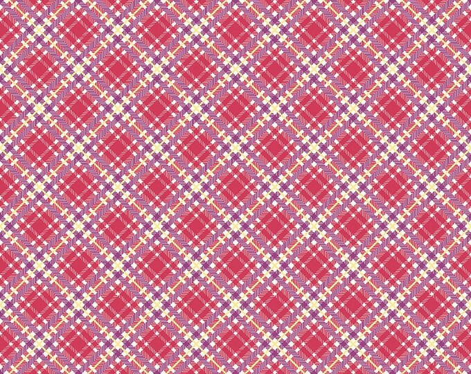 Prim and Proper Fabric by Lindsay Wilkes from The Cottage Mama for Riley Blake Designs and Penny Rose Fabrics - Deep Pink Plaid