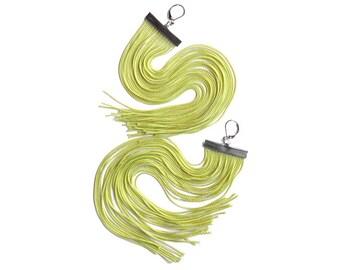 Lime Long Fringe Earrings.Light Green Dangles.Acid Green Shoulder Dusters.Android Green Chandeliers.Bright Apple Green Very Long Earrings