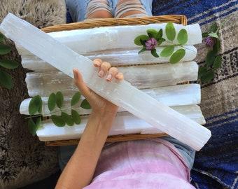 """XL selenite stick, selenite wand, large selenite  wand, big selenite wand, 18"""", 16"""", 14"""", 12"""""""