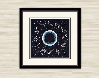 Buy 2 get 1 free Constellation Cross Stitch night sky Pattern PDF starry sky Gift  astronomy pattern embroidery galaxy Hand Made outer space