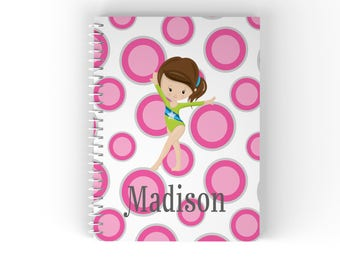 Gymnastic Personalized Notebook- Gymnastic Girl Pink Grey Polka Dot with Name, Customized Spiral Notebook Back to School