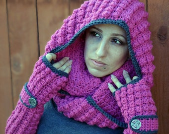 Magenta and charcoal cowl, scarf, crochet hooded cowl, chunky cowl, crochet scarf, winter scarf, warm scarf,  winter fashion, infinity scarf