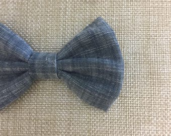 chambray bow / baby headband / baby hair bow / chambray fabric bow / toddler bow clip / bow headband / newborn headband / chambray bow tie