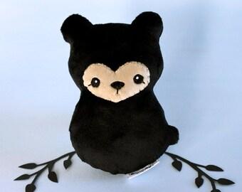 Black Bear Plushie. Stuffed Bear Toy, Little Teddy Bear, Bearcub Plush, Forest Animal Doll, Designer Plush, Blackbear Softie, Gift for Kids