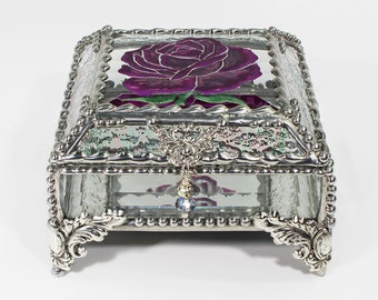 Etched, Hand Painted, Rose,Flower,Stained Glass, Keepsake Box,Jewelry Box, Faberge Style, Treasure Box