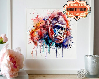Gorilla, INSTANT DOWNLOAD, Printable, Watercolor portrait, Wall art, Wildlife, Animal art, Monkeys, Colorful, Watercolor painting, Gorillas