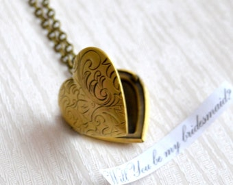 Bridesmaid Locket necklace Bridesmaid jewelry Filigree heart shaped Weddings jewelry Bridesmaids gifts necklace Vintage locket necklace
