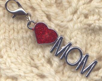 Mom Stitch Marker Clip Heart Love Mom Enameled Single /SM189C