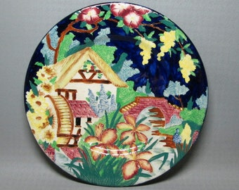Vintage antique pottery plate , raised design , mill bridge etc , looks like Germany to me ( ??? )