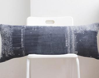 """Lumbar Batik Grey Indigo Hmong Pillow Cover 14"""" x 36"""""""