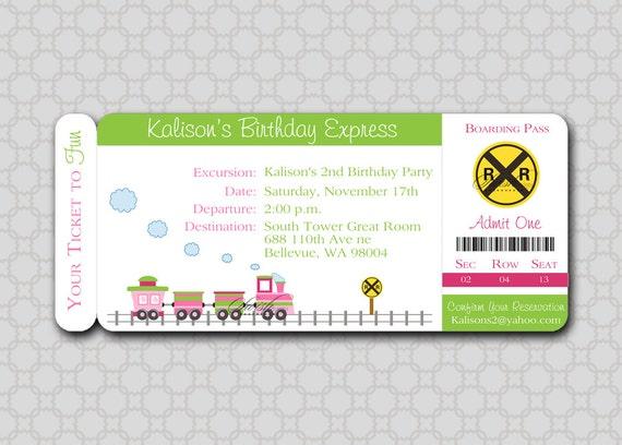 Girl train birthday invitation boarding pass invite filmwisefo