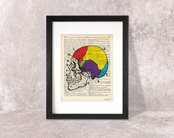 Brain print-brain dictionary print-Anatomy print-brain on book page-anatomical wall art-brain poster-anatomy print set-by NATURA PICTA-DP072