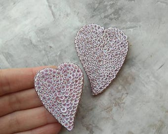Pink and beige heart Brooch, valentines brooch, Pin Love Brooch, Bead embroidered accessories, Handmade brooch, handmade beadwork, red heart