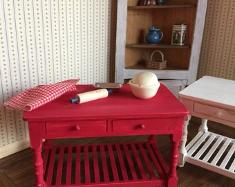 Painted Red or White Work Tables for a One Inch Scale Dollhouse or Roombox