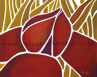 Giclee Art Print from Original Acrylic Painting entitled Lotus & the Four Elements - 8x10 inch