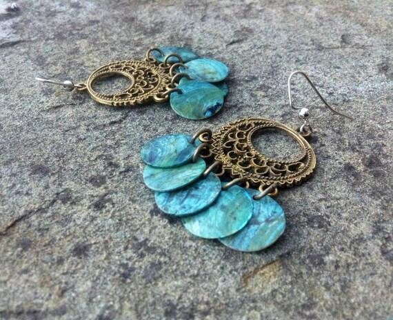 """Light Blue """"Simply Chandelier"""" Mussel Shell Earrings"""