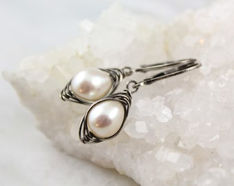 Wrapped Oval White Pearl Oxidized Silver Earrings