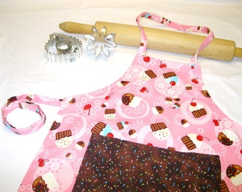 Tossed Cupcakes Child Apron with Sprinkles Pocket