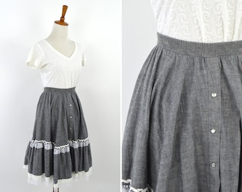 Vintage 1970's Gray Spring Square Dance Skirt -  Ruffle Mori Girl Lolita Skirt - Lace Full Circle Ranch Skirt - Size Medium to Large