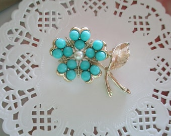 Vintage Aqua Turquoise and Gold Brooch-Sarah Coventry