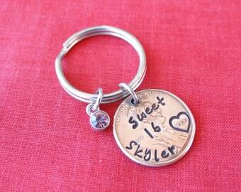 Sweet 16 Penny Keychain, Stamped Penny, sweet 16,  sweet 16 gift, birthday keychain, personalized penny, custom penny, teen keychain