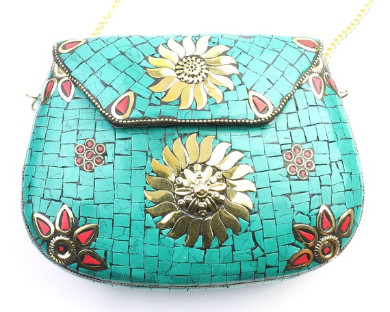 Zarqa Clutch, Turquoise Vintage Stone Purse, Ornate brass bag, Metal Purse, Antique Bag, Gold Purse, Boho, Gypsy, Cigarette Case