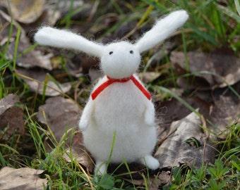 Needle Felt Rabbit, Handmade, Anniversary,OOAK,Bunny,Hare,Valentine,Gift,Needlefelt,Animal,Soft Sculpture,Fibre Art,Miniature