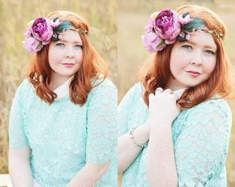 Purple peony & rose flower crown