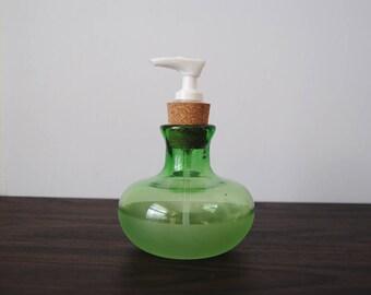 Grass Green Handmade Blown Glass Soap Bottle Dispenser Pump