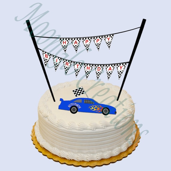 Race car theme Happy Birthday cake banner Birthday