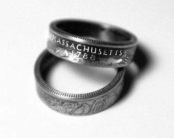 Handcrafted Ring made from a US Quarter - Massachusetts - Pick your size