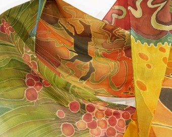 Lovely colorful hand-painted silk chiffon scarf with flowers and horse motif.