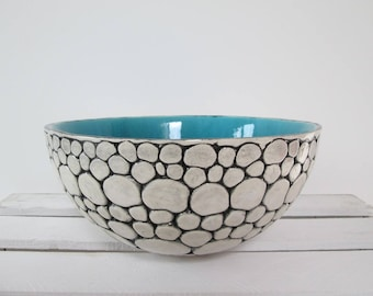 turquoise bowl, large ceramic bowl, turquoise bowl, ceramic bowl handmade pottery, modern ceramic bowl, decorative bowl, handmade ceramics