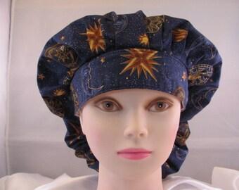 Women's Bouffant Scrub Hat Celestial