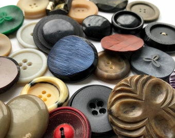 Lot of 28 Big Vintage Buttons Sewing Crochet Knitting Assorted Colors and Styles Plastic Celluloid Crafting Sorting