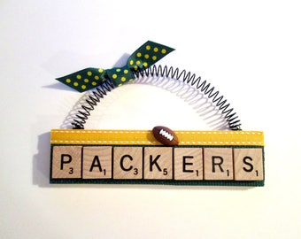 Green Bay Packers Football Scrabble Tile Ornaments