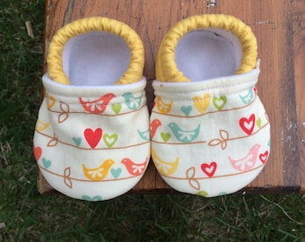 Baby Shoes for Girls - Pastel Birds with Hearts and Leaves - Custom Sizes 0-24 months 2T-4T