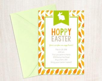 Hoppy Easter Invitation - Easter Party Invitation - Easter Brunch Invitation - Easter Egg Hunt Invitation